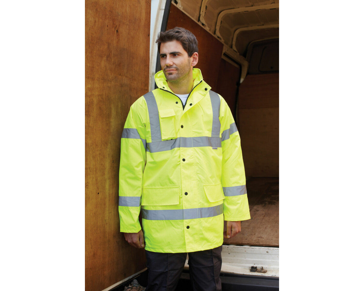 Dickies High Visibilty Hi-Vis Yellow Safety Motorway Jacket Small Chest 36-38