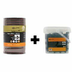 200m x 40mm Gallagher TurboStar Tape Brown + 100 x TurboLine Horse Insulators