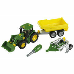 Klein John Deere with trailer and plough 1:24