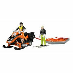 Bruder Snowmobil with driver and Akia rescue sledge with skier 1:16
