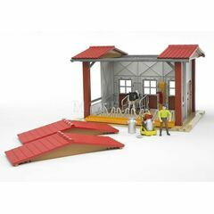 Bruder Cow barn with milking machine, cow and figure 1:16
