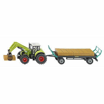 Siku Claas Tractor with square bale gripper and trailer 1:50
