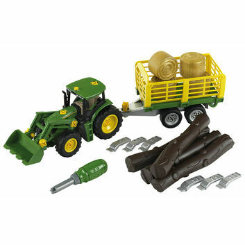 Klein John Deere Tractor with wood and Haycart trailer 1:24