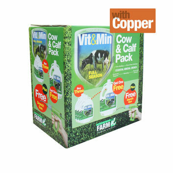 Greencoat Farm Vit&Min Cow with Copper Promo Pack - 4 X 2.5 LT PLUS DRENCH GUN