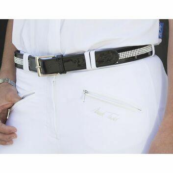 Mark Todd Belt Diamante Leather Black - LARGE/XLARGE (95CM)