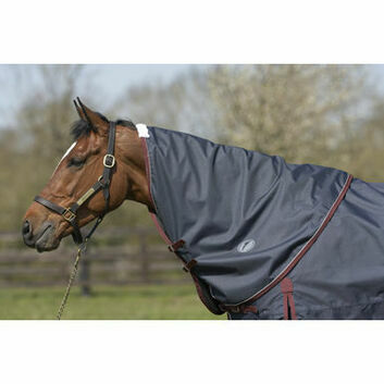 JHL Turnout Rug Lightweight Plus Neck Cover Navy/Burgundy/White