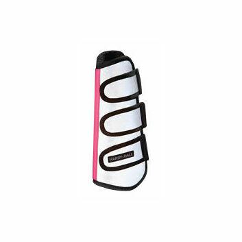Harry Hall Hi-Viz Wrap Boots Reflective Silver/Pink