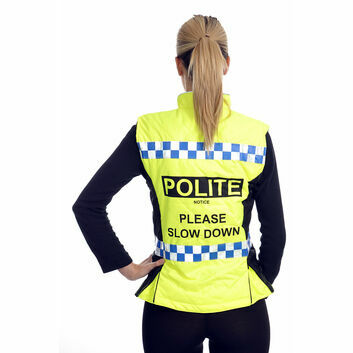 Equisafety Polite Quilted Hi-Vis Gilet Please Slow Down