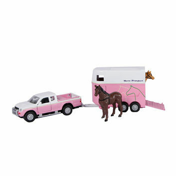 Kidsglobe Mitsubishi L200 Truck with Horse Trailer and Horses 1:32