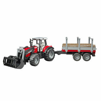 Bruder Massey Ferguson 7480 with frontloader and timber trailer 1:16