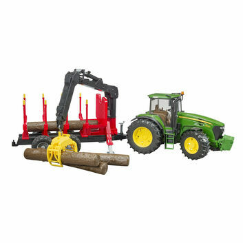 Bruder John Deere 7930 Tractor with forestry trailer and 4 trunks 1:16