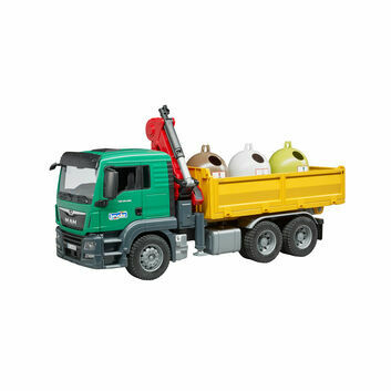 Bruder MAN TGS Truck with 3 Glass Recycling Containers and Bottles 1:16