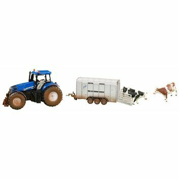 Siku New Holland T8.390 + stock trailer and 2 cows 1:32
