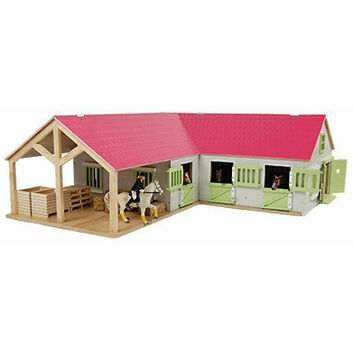Kidsglobe Horse corner stable with 3 boxes and storage 1:24