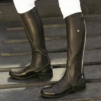 Mark Todd Chaps Patent Piped Leather Tall Black