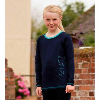 Mark Todd Tee Long Sleeve Kids Navy/Aqua