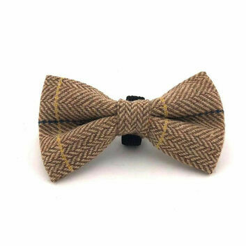 Hugo & Hudson Bow Tie Herringbone Caramel Checked