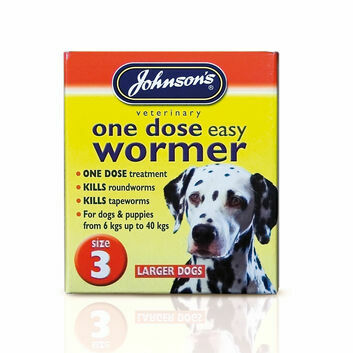 Johnson\'s Veterinary Easy Wormer One Dose For Dogs Size Thre