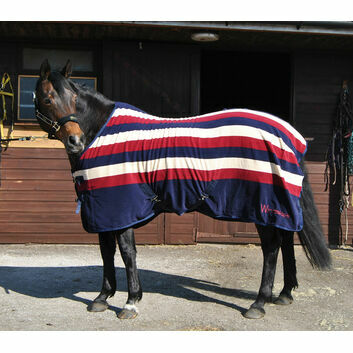 Whitaker Holywell V2 Striped Fleece Rug Navy/Burgundy/Beige