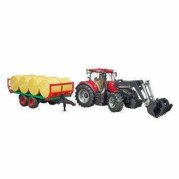 Bruder Case IH Optum 300 CVX Tractor with Front Loader and Bale Transport Trailer 1:16