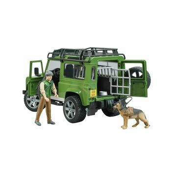 Bruder Land Rover Defender with Forest Ranger and dog 1:16