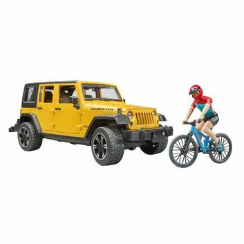 Bruder Jeep Wrangler Rubicon Unlimited with Mountain Bike and Cyclist 1:16