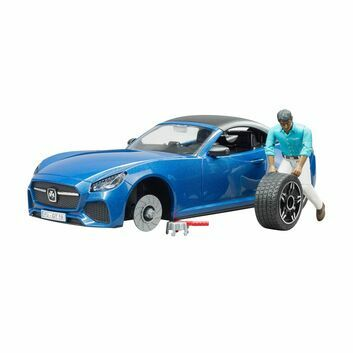 Bruder Blue Roadster with Driver and Wheel Changing System 1:16