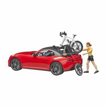 Bruder Roadster with Road Bike and cyclist 1:16
