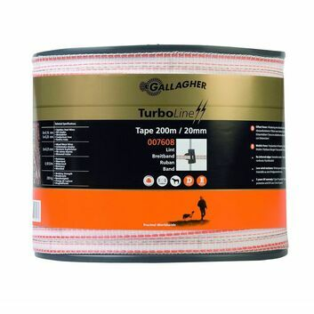 Gallagher TurboLine White 20mm Electric Fence Tape - 200m