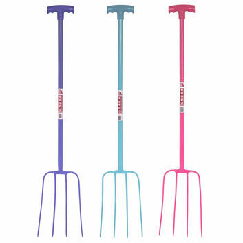Faulks & Cox Tubular 4 Prong Manure Fork T Grip - Various Colours