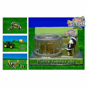 Kidsglobe Cattle Feeder Set with Bale and Cow 1:32