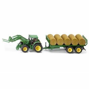 Siku John Deere Tractor with round baler trailer 1:32