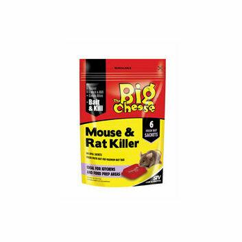 The Big Cheese Mouse & Rat Killer Plus Bait Trays - 6 Sachet