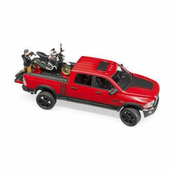 Bruder RAM 2500 Power Wagon, Scrambler Ducati Desert Sled and Driver 1:16