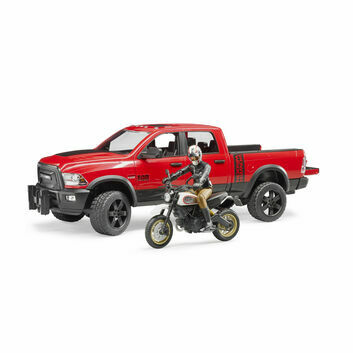 Bruder RAM 2500 Power Wagon, Ducati Desert Sled Scrambler and Driver 1:16