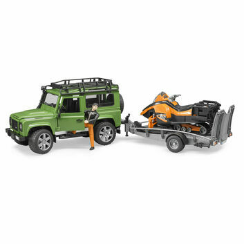 Bruder Land Rover Defender with Trailer, Snowmobile and Driver 1:16