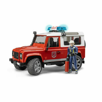 Bruder Land Rover Defender Fire Department Vehicle and Fireman 1:16