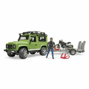 Bruder Land Rover Defender with Trailer, Scrambler Ducati Cafe Racer and Driver 1:16