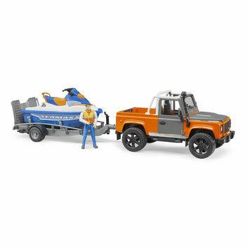 Bruder Land Rover Defender Pick Up, Trailer, Jetski and Driver 1:16