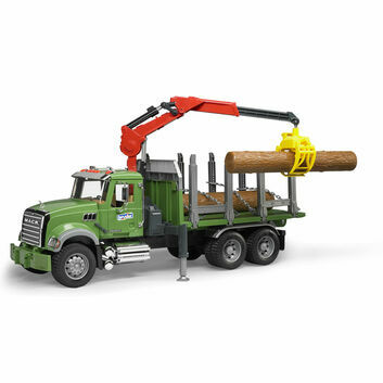 Bruder MACK Granite Timber Truck with Loading Crane and 3 Trunks 1:16