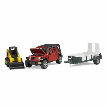 Bruder Jeep Wrangler Unlimited Rubicon 1 axle trailer and CAT skid steer loader 1:16