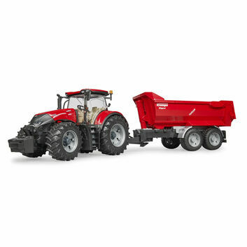 Bruder Case IH Optum 300 CVX Tractor with Krampe tandem-halfpipe trailer 1:16