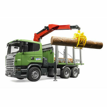 Bruder Scania R-series Timber Truck with Loading Crane and 3 Trunks 1:16