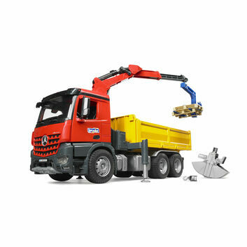 Bruder MB Arocs Construction Truck with Crane, Clamshell Buckets and 2 Pallets 1:16