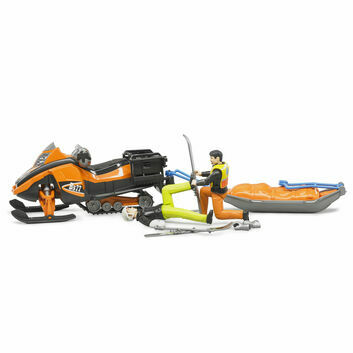 Bruder Snowmobile/Skimobile with driver and Akia rescue sledge with skier 1:16