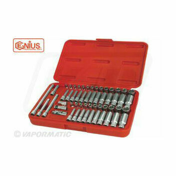 Genius Tools Metric & Imperial 55 Piece Socket Set 1/4