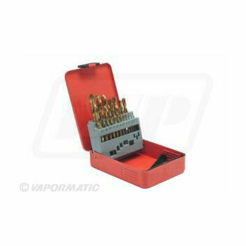 19 Piece Titanium Coated Drill Bit Set 1-10mm