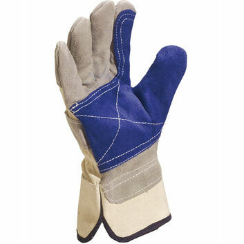 Delta Plus Cowhide Split Leather Gloves - Blue/Grey