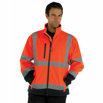 Yoko Hi Vis Softshell Jacket - Orange/Navy