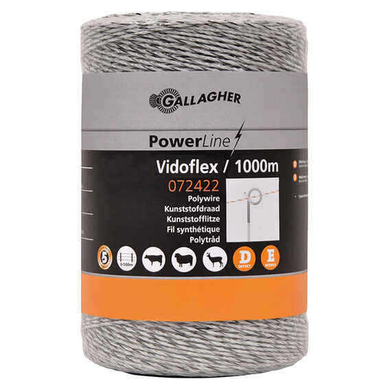 1000m Gallagher Vidoflex White Polywire